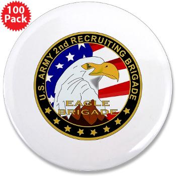 "USAREC2RB - M01 - 01 - 2nd Recruiting Brigade 3.5"" Button (100 pack)"