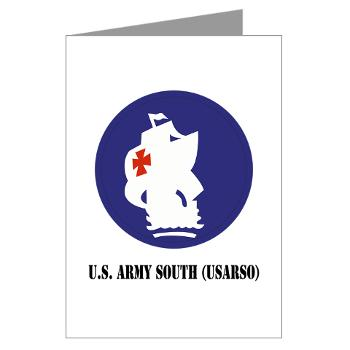 USARSO - M01 - 02 - U.S. Army South (USARSO) with Text - Greeting Cards (Pk of 20)