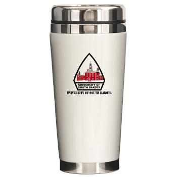 USD - M01 - 03 - SSI - ROTC - University of South Dakota with Text - Ceramic Travel Mug