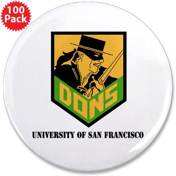"USF - M01 - 01 - SSI - ROTC - University of San Francisco with Text - 3.5"" Button (100 pack)"