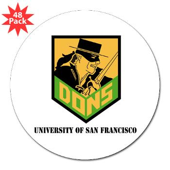 "USF - M01 - 01 - SSI - ROTC - University of San Francisco with Text - 3"" Lapel Sticker (48 pk)"