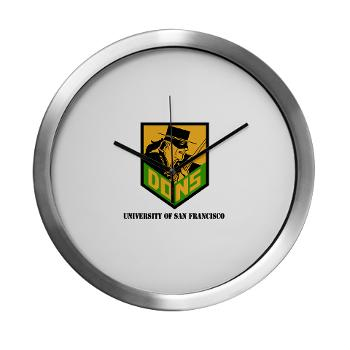 USF - M01 - 03 - SSI - ROTC - University of San Francisco with Text - Modern Wall Clock