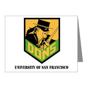 USF - M01 - 02 - SSI - ROTC - University of San Francisco with Text - Note Cards (Pk of 20)