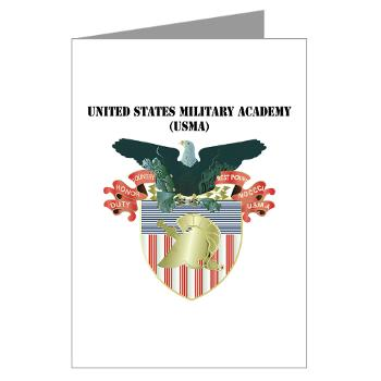 USMA - M01 - 02 - United States Military Academy (USMA) with Text - Greeting Cards (Pk of 10)