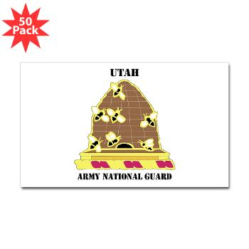 UTARNG - M01 - 01 - DUI - Utah Army National Guard with text - Sticker (Rectangle 50 pk)