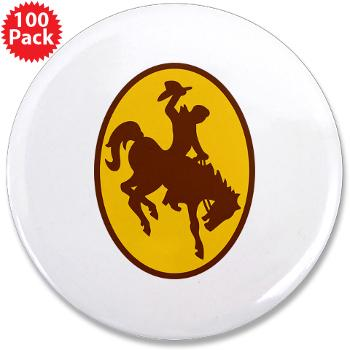 "UW - M01 - 01 - SSI - ROTC - University of Wyoming - 3.5"" Button (100 pack)"