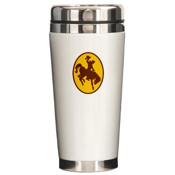 UW - M01 - 03 - SSI - ROTC - University of Wyoming - Ceramic Travel Mug