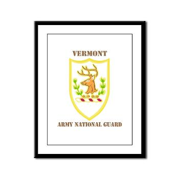 VARNG - M01 - 02 - DUI - Vermont Army National Guard with Text - Framed Panel Print