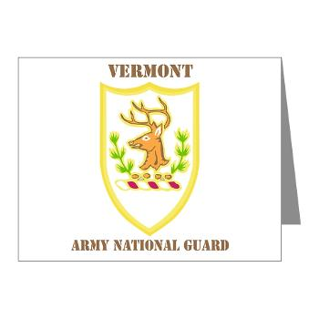 VARNG - M01 - 02 - DUI - Vermont Army National Guard with Text - Note Cards (Pk of 20)