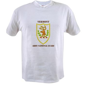 VARNG - A01 - 04 - DUI - Vermont Army National Guard with Text - Value T-shirt