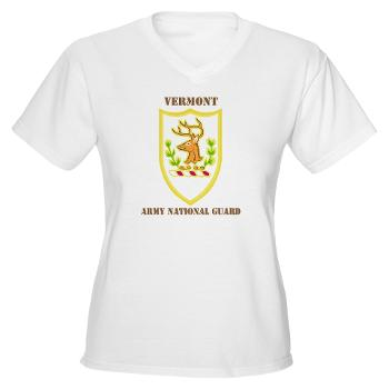 VARNG - A01 - 04 - DUI - Vermont Army National Guard with Text - Women's V-Neck T-Shirt