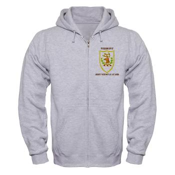 VARNG - A01 - 03 - DUI - Vermont Army National Guard with Text - Zip Hoodie