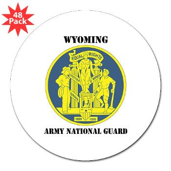 "WYARNG - M01 - 01 - DUI - WYOMING Army National Guard with Text - 3"" Lapel Sticker (48 pk)"