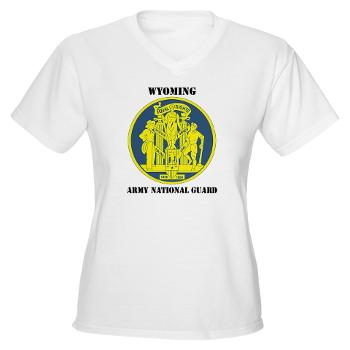 WYARNG - A01 - 04 - DUI - WYOMING Army National Guard with Text - Women's V-Neck T-Shirt