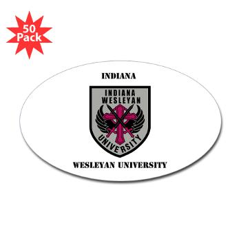 indwes - M01 - 01 - SSI - ROTC - Indiana Wesleyan University with Text - Sticker (Oval 50 pk)