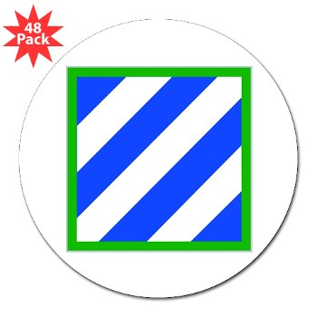 "03ID - M01 - 01 - SSI - 3rd Infantry Division 3"" Lapel Sticker (48 pack)"