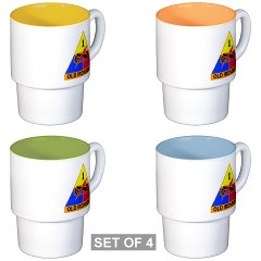 1AD - M01 - 03 - DUI - 1st Armored Division Stackable Mug Set (4 mugs)