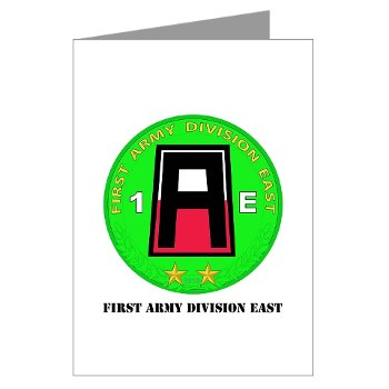 01AE - M01 - 02 - First Army Division East with Text Greeting Cards (Pk of 20)