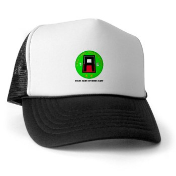 01AE - A01 - 02 - First Army Division East with Text Trucker Hat