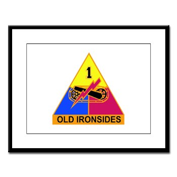 1AD - M01 - 02 - DUI - 1st Armored Division Large Framed Print