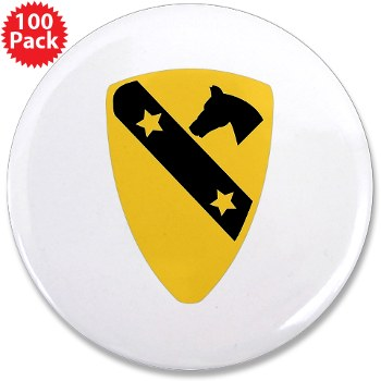 "1CAV - M01 - 01 - DUI - 1st Cavalry Division 3.5"" Button (100 pack)"