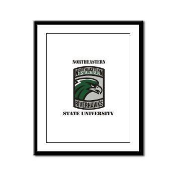 nsuok - M01 - 02 - SSI - ROTC - Northeastern State University with Text - Framed Panel Print